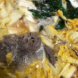 白菜と牛肉のごま油鍋