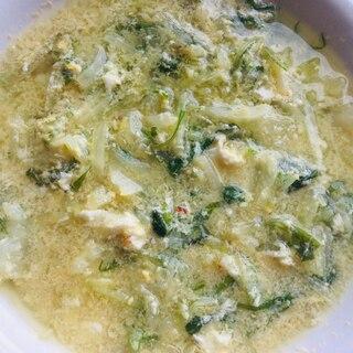 水菜とキャベツの卵とじスープ