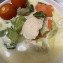 脂肪燃焼スープの具材で♪野菜鶏胸肉ミルクスープ