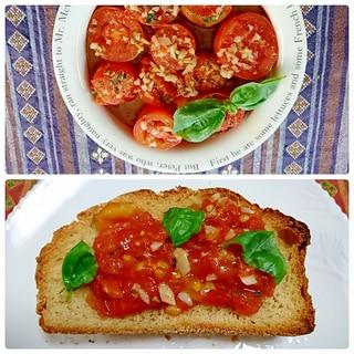 トマトアヒージョでブルスケッタ