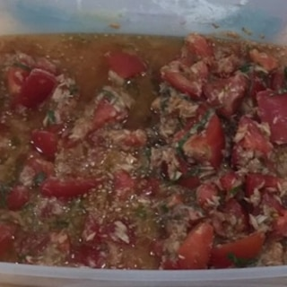 素麺のつけ汁 ツナトマト大葉