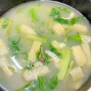 蕨・油揚げ・レタスの味噌汁