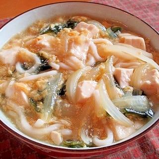 生姜がじんわり♪卵とくずし豆腐のあんかけうどん♪