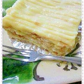 ココナツサブレでカスタードクリームケーキ