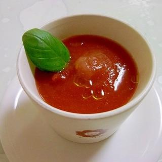 暑い時に!!冷製トマト缶のガスパチョ風スープ