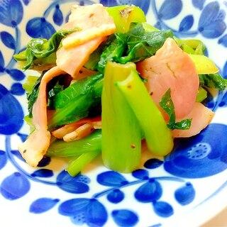 油なし、小松菜とベーコンの炒め物