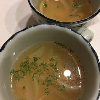 新玉ねぎとロースハムのコンソメスープ