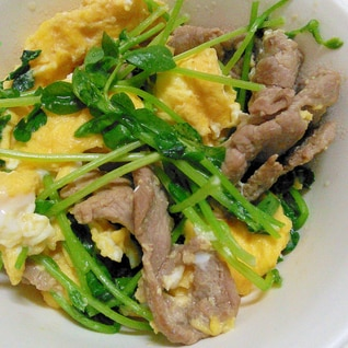 豚こまと豆苗の卵炒め