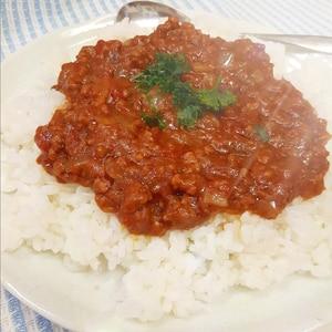 電子レンジで!トマト缶と合挽肉の無水キーマカレー♪