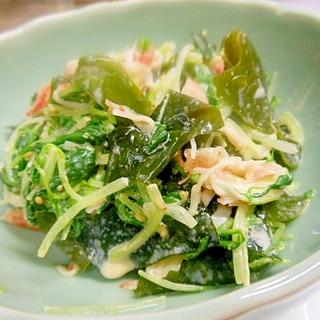 箸休めに~水菜、カニカマ、わかめのマヨポン和え