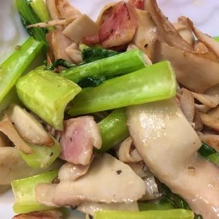 エリンギとベーコンと小松菜のマヨ炒め