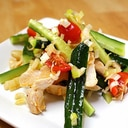 さっぱり美味しい♪塩鶏の葱胡麻ラー油和え