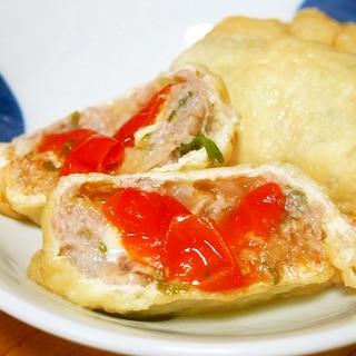 トマトチーズの肉団子の巾着煮♪