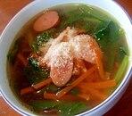 ほうれん草とウインナーとにんじんのスープ☆