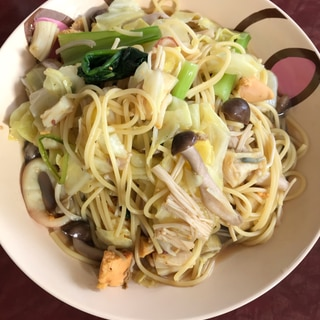 野菜たっぷり!魚介スープスパゲティー