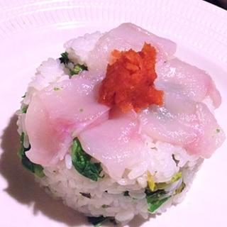 おもてなしにも、河豚と菜の花の彩寿司