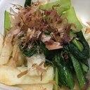小松菜と長芋炒め、ポン酢味