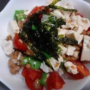 納豆おくら豆腐トマトのねばねば丼♪