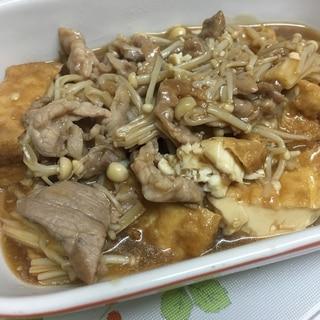 豚コマ厚揚げえのきで炒め煮