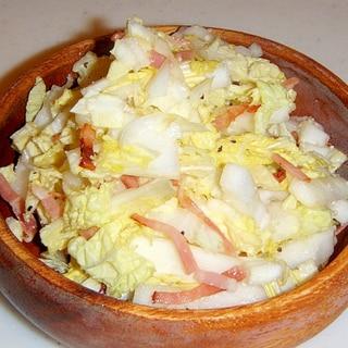 しゃきしゃき白菜とベーコンのサラダ