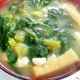 目標1日30品目!ほうれん草、豆腐、油あげお味噌汁