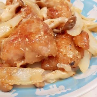 子供が喜ぶ(^^)鶏もも肉と玉ねぎのゴマ味噌炒め♪