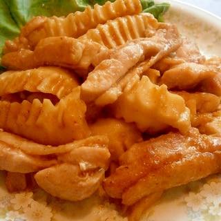 角麩がウマイ☆かくふと鶏肉の炒め(焼肉のタレ)