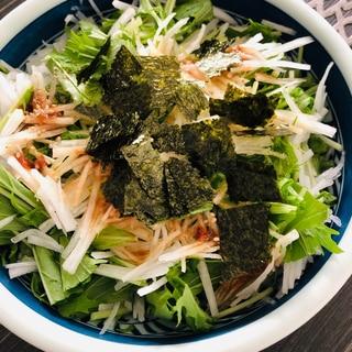 居酒屋風☆シャキシャキ大根と水菜の梅ポン酢サラダ