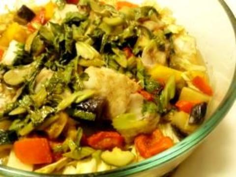簡単!野菜たっぷり♪白身魚のレンジ蒸し