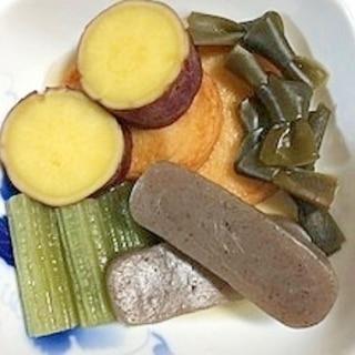 蕗、こんにゃく、結びおでんこんぶ、さつま芋の煮物