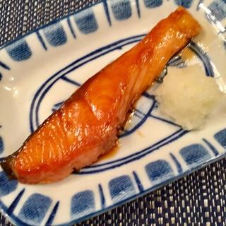 簡単甘塩鮭の照り焼き
