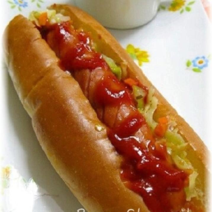 コールスローとウインナーのホットドッグ レシピ 作り方 By はなまる子 楽天レシピ