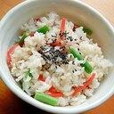 楽!豆ごはんもどき❤いんげん&紅生姜の混ぜご飯♪
