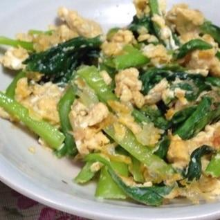 簡単♡小松菜と卵のめんつゆ炒め