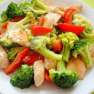 ブロッコリーと鶏むね肉パプリカのうま塩マヨ炒め