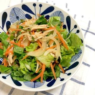 ボイルチキンと4種類野菜の 醤油ベース サラダ♪