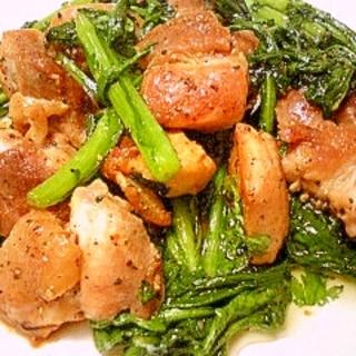 鶏肉と春菊の炒めもの