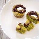 栗とあずきの抹茶カップケーキ☆HMで簡単、和洋菓子